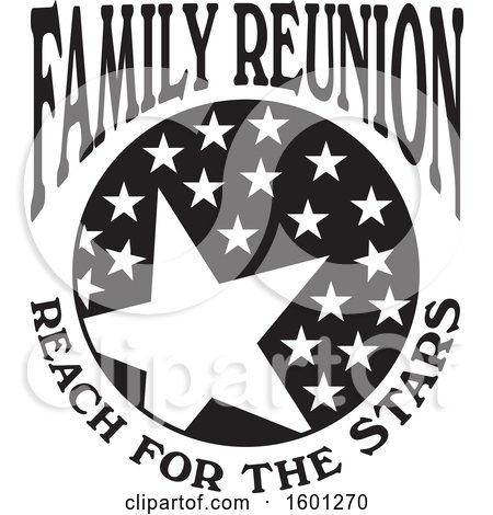Clipart of a Black and White Family Reunion Reach for the Stars Design - Royalty Free Vector Illustration by Johnny Sajem