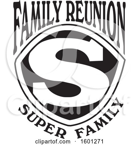 Clipart of a Black and White Family Reunion Super Family S Shield Design - Royalty Free Vector Illustration by Johnny Sajem
