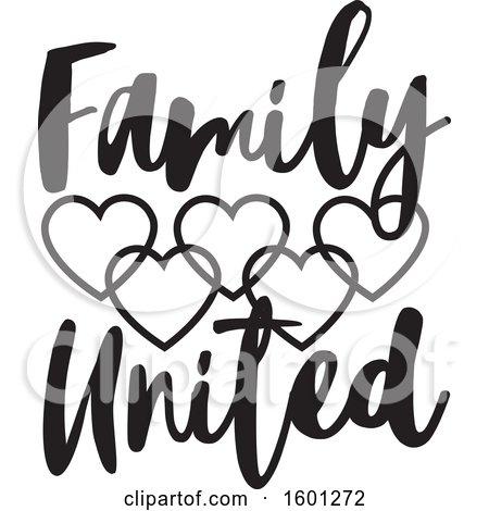 Clipart of a Black and White Family United Design with Connected Hearts - Royalty Free Vector Illustration by Johnny Sajem