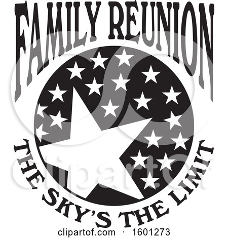 Clipart of a Black and White Family Reunion the Skys the Limit Stars Design - Royalty Free Vector Illustration by Johnny Sajem