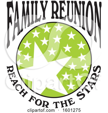 Clipart of a Green Black and White Family Reunion Reach for the Stars Design - Royalty Free Vector Illustration by Johnny Sajem