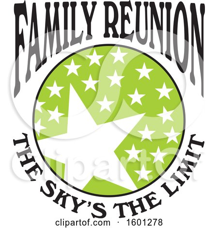Clipart of a Green Black and White Family Reunion the Skys the Limit Stars Design - Royalty Free Vector Illustration by Johnny Sajem