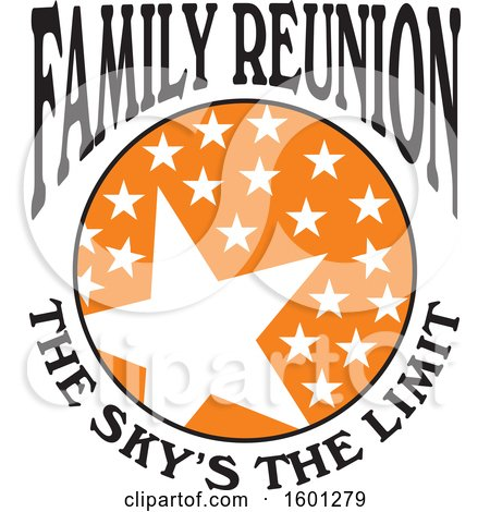 Clipart of a Black Orange and White Family Reunion the Skys the Limit Stars Design - Royalty Free Vector Illustration by Johnny Sajem