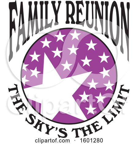 Clipart of a Purple Black and White Family Reunion the Skys the Limit Stars Design - Royalty Free Vector Illustration by Johnny Sajem