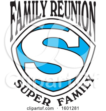 Clipart of a Blue Black and White Family Reunion Super Family S Shield Design - Royalty Free Vector Illustration by Johnny Sajem