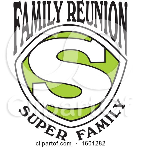 Clipart of a Green Black and White Family Reunion Super Family S Shield Design - Royalty Free Vector Illustration by Johnny Sajem