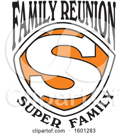 Clipart of a Black Orange and White Family Reunion Super Family S Shield Design - Royalty Free Vector Illustration by Johnny Sajem