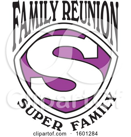 Clipart of a Purple Black and White Family Reunion Super Family S Shield Design - Royalty Free Vector Illustration by Johnny Sajem