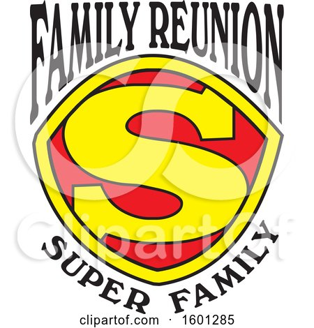Clipart of a Red Yellow and Black Family Reunion Super Family S Shield Design - Royalty Free Vector Illustration by Johnny Sajem