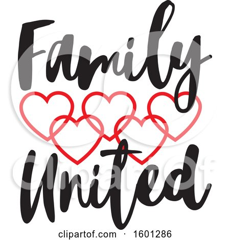 Clipart of a Family United Design with Connected Red Hearts - Royalty Free Vector Illustration by Johnny Sajem