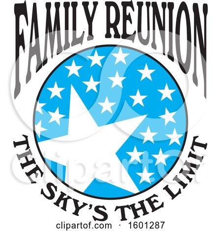 Clipart of a Blue Black and White Family Reunion the Skys the Limit Stars Design - Royalty Free Vector Illustration by Johnny Sajem