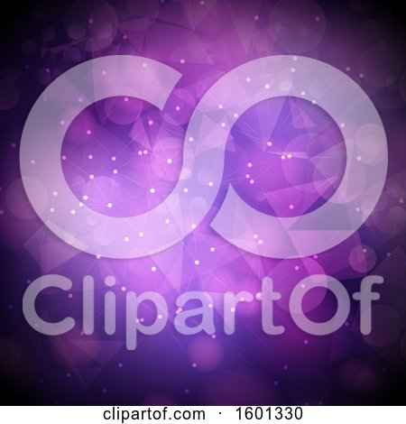 Clipart of a Purple Geometric and Bokeh Flare Background - Royalty Free Vector Illustration by KJ Pargeter