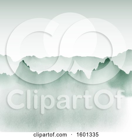 Clipart of a Watercolor Painted Mountain Landscape with a Sun or Full Moon - Royalty Free Vector Illustration by KJ Pargeter