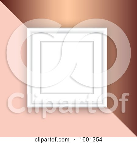 Clipart of a Blank Picture Frame on a Rose Gold Background - Royalty Free Vector Illustration by KJ Pargeter