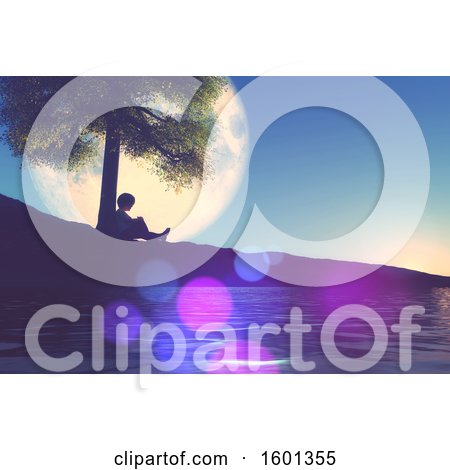 Clipart of a 3d Silhouetted Boy Leaning Against a Tree on the Coast, with a Big Moon - Royalty Free Illustration by KJ Pargeter