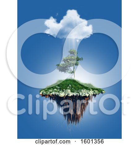 Clipart of a 3D Render of a Floating Tree Island Under a Cloud - Royalty Free Illustration by KJ Pargeter