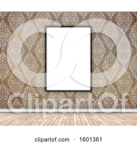 Clipart of a 3d Blank Picture Frame on a Damask Wallpapered Wall - Royalty Free Illustration by KJ Pargeter