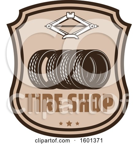 Clipart of a Car Tire Shop Design - Royalty Free Vector Illustration by Vector Tradition SM
