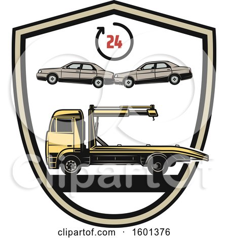 Clipart of a Car Towing Shield Design - Royalty Free Vector Illustration by Vector Tradition SM