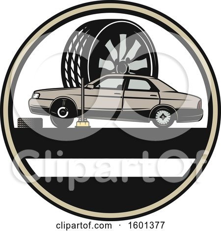 Clipart of a Car and Tire Repair Design - Royalty Free Vector Illustration by Vector Tradition SM