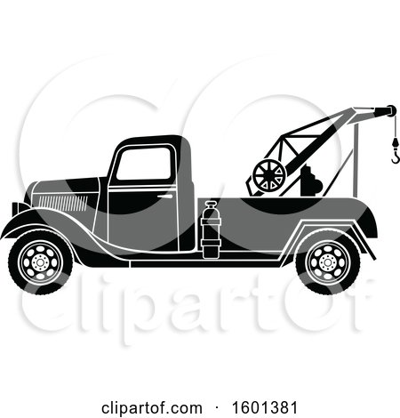 Clipart of a Black and White Vintage Tow Truck - Royalty Free Vector Illustration by Vector Tradition SM