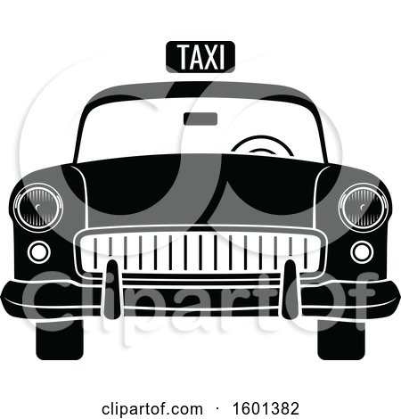 Clipart of a Black and White Vintage Taxi Cab - Royalty Free Vector Illustration by Vector Tradition SM