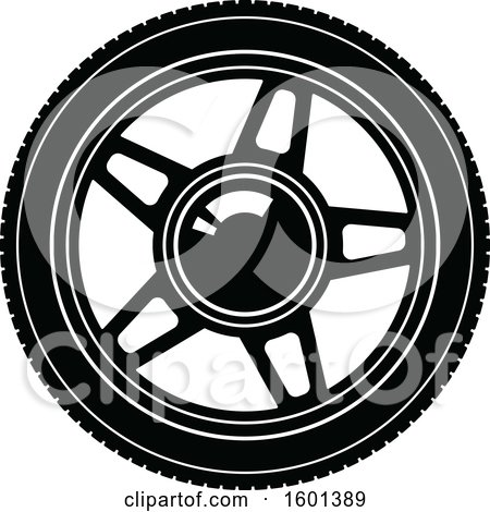 Clipart of a Black and White Tire - Royalty Free Vector Illustration by Vector Tradition SM