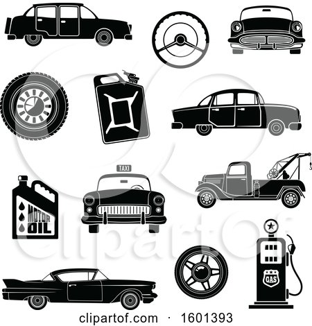 Clipart of Black and White Vintage Automotive Icons - Royalty Free Vector Illustration by Vector Tradition SM
