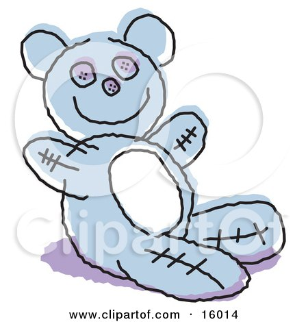 Cute Blue Stuffed Teddy Bear Clipart Illustration by Andy Nortnik