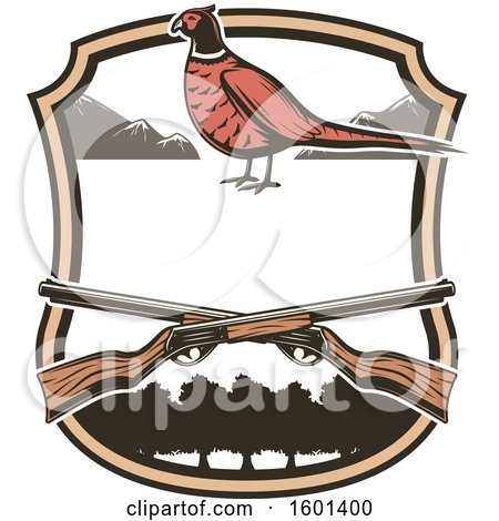 Clipart of a Hunting Shield Design with a Pheasant - Royalty Free Vector Illustration by Vector Tradition SM