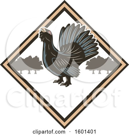 Clipart of a Hunting Shield Design with a Wood Grouse - Royalty Free Vector Illustration by Vector Tradition SM