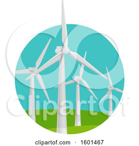 Clipart of a Wind Turbine Clean Energy Design - Royalty Free Vector Illustration by Vector Tradition SM