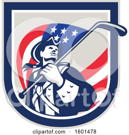 Clipart of a Retro American Revolutionary Soldier Patriot Minuteman with a Hockey Stick Flag in a Crest - Royalty Free Vector Illustration by patrimonio