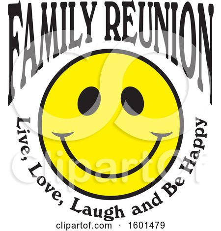 Clipart of a Family Reunion Happy Face with Live Love Laugh and Be Happy Text - Royalty Free Vector Illustration by Johnny Sajem