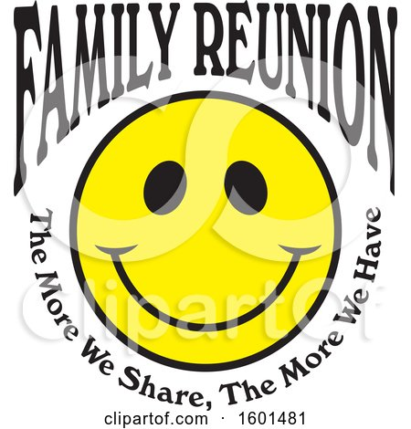 Clipart of a Family Reunion Happy Face with the More We Share the More We Have Text - Royalty Free Vector Illustration by Johnny Sajem