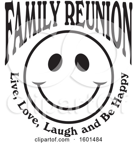 Clipart of a Black and White Family Reunion Happy Face with Live Love Laugh and Be Happy Text - Royalty Free Vector Illustration by Johnny Sajem