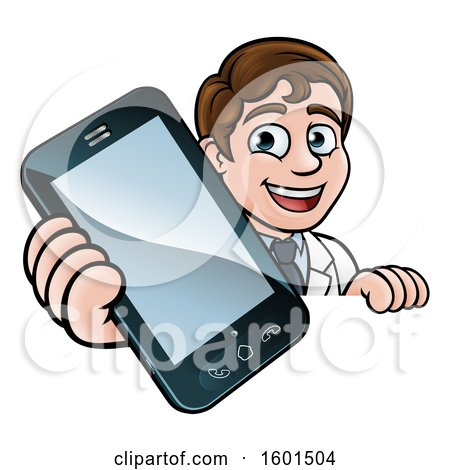 Clipart of a Happy White Male Scientist Holding a Cell Phone over a Sign - Royalty Free Vector Illustration by AtStockIllustration