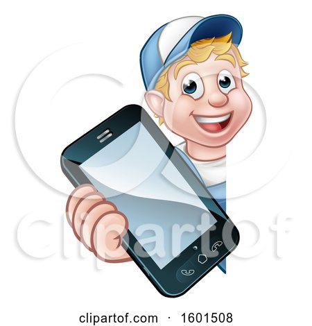 Clipart of a White Male Handyman Holding out a Smart Phone Around a Sign - Royalty Free Vector Illustration by AtStockIllustration