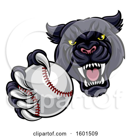 Clipart of a Tough Black Panther Monster Mascot Holding out a Baseball in One Clawed Paw - Royalty Free Vector Illustration by AtStockIllustration