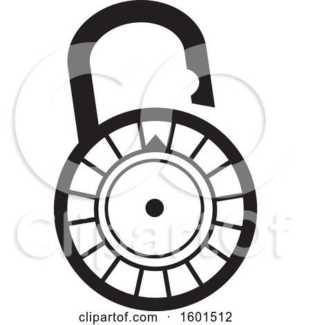 Clipart of a Black and White Combination Lock - Royalty Free Vector Illustration by Johnny Sajem