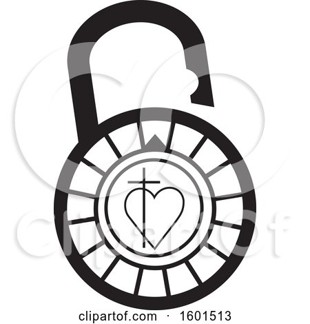Clipart of a Black and White Combination Lock with a Cross and Heart - Royalty Free Vector Illustration by Johnny Sajem
