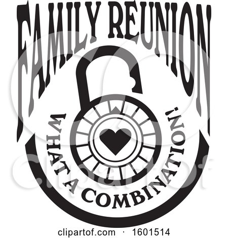 Clipart of a Black and White Family Reunion What a Combination Heart Lock Design - Royalty Free Vector Illustration by Johnny Sajem