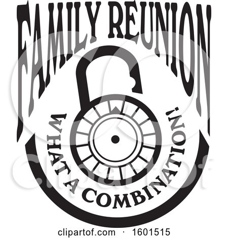 Clipart of a Black and White Family Reunion What a Combination Lock Design - Royalty Free Vector Illustration by Johnny Sajem