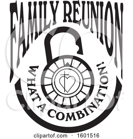Clipart of a Black and White Family Reunion What a Combination Cross and Heart Lock Design - Royalty Free Vector Illustration by Johnny Sajem