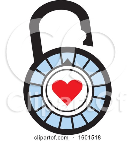 Clipart of a Combination Lock with a Heart - Royalty Free Vector Illustration by Johnny Sajem