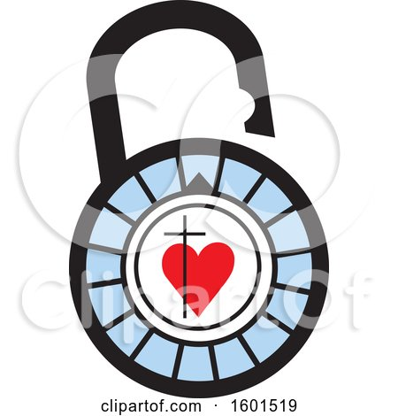 Clipart of a Combination Lock with a Cross and Heart - Royalty Free Vector Illustration by Johnny Sajem