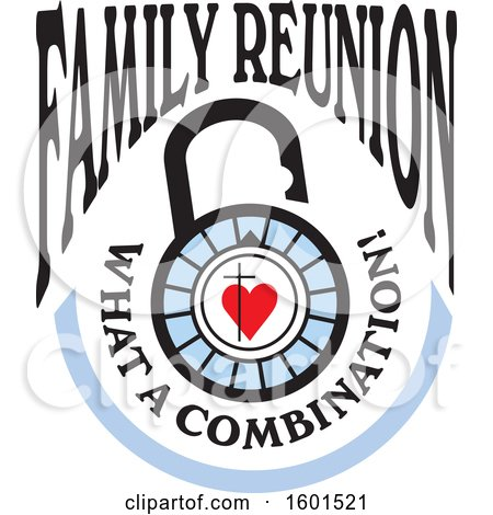 Clipart of a Family Reunion What a Combination Cross and Heart Lock Design - Royalty Free Vector Illustration by Johnny Sajem