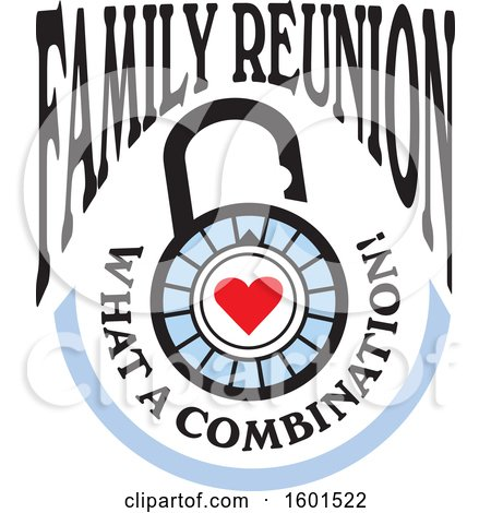 Clipart of a Family Reunion What a Combination Heart Lock Design - Royalty Free Vector Illustration by Johnny Sajem