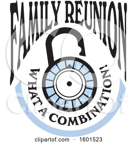 Clipart of a Family Reunion What a Combination Lock Design - Royalty Free Vector Illustration by Johnny Sajem