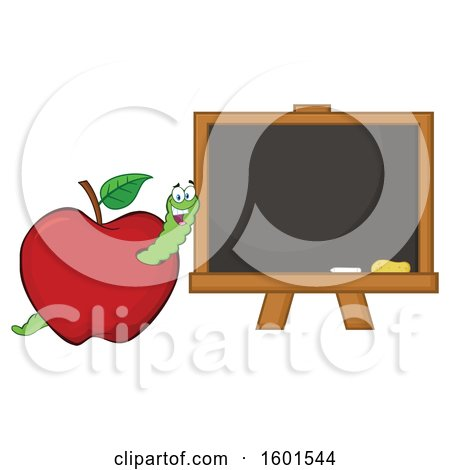 Clipart of a Cartoon Worm in an Apple by a Black Board - Royalty Free Vector Illustration by Hit Toon